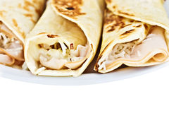 Turkey and cheese Rolls Royalty Free Stock Images