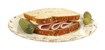 Turkey and cheese sandwich Royalty Free Stock Photo