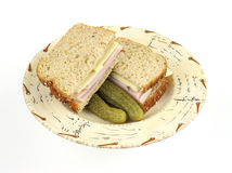 Turkey and cheese sandwich with pickles Stock Photography