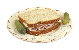 Turkey and cheese sandwich with pickles Stock Photos