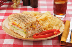 Turkey and cheese sandwich Stock Images