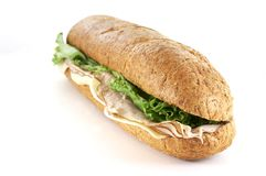Turkey and cheese sub Royalty Free Stock Image