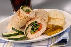 Turkey and cheese wrap Stock Images