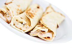 Turkey and cheese wraps Stock Images