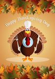 Turkey with chef's hat in Thanksgiving Day Stock Photo