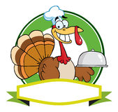 Turkey chef serving a platter banner Royalty Free Stock Photo