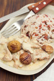 Turkey with chestnut and boiled rice Royalty Free Stock Photo