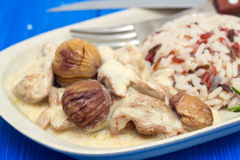 Turkey with chestnut and boiled rice on dish Stock Images