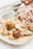 Turkey with chestnut and boiled rice on dish Stock Photos