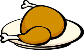 Turkey or chicken in a dish. Illustration of a turkey or chicken in a dish Stock Image