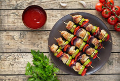 Turkey or chicken meat skewers kebab grilled food with onion Royalty Free Stock Photo