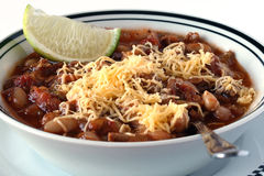 Turkey Chili with Cheese and Lime Stock Photos