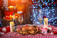 Turkey on CHristmas decorated table Royalty Free Stock Photo