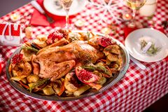 Turkey on CHristmas decorated table Royalty Free Stock Photography