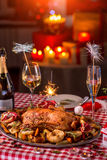 Turkey on CHristmas decorated table Stock Images