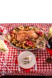Turkey on CHristmas decorated table Stock Photo