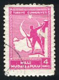 Soldier and Map of Turkey. TURKEY- CIRCA 1941: stamp printed by Turkey, shows Soldier and Map of Turkey, circa 1941 stock image