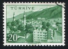 Bursa. TURKEY - CIRCA 1959: stamp printed by Turkey, shows Turkish city, Bursa, circa 1959 Stock Image