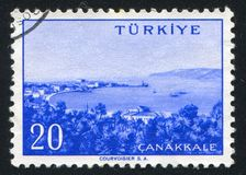 Canakkale. TURKEY - CIRCA 1959: stamp printed by Turkey, shows Turkish city, Canakkale, circa 1959 Royalty Free Stock Images