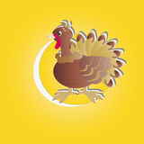 Turkey in the circle. The symbol of Thanksgiving - turkeys in a yellow circle Stock Photo