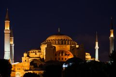 Hagia Sophia In Istanbul At Night Stock Photos