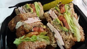 Turkey club sandwich with avocado Royalty Free Stock Photos