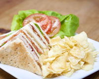 Turkey club sandwich Stock Photo