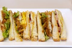 A turkey club sandwich. A delicious multi-layered turkey club sandwich served on a white plate in a restaurant Stock Images