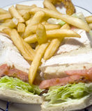 Turkey club sandwich french fries Royalty Free Stock Photography