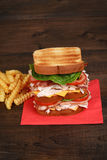 Turkey club sandwich on red napkin Royalty Free Stock Images