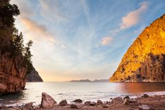 Turkey coast. Beautiful sea coast ay sunset in Turkey royalty free stock photography