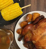 Turkey with corn and drink. This is the basic food of thanksgiving Royalty Free Stock Photo