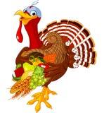 Turkey with cornucopia stock illustration