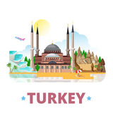 Turkey country design template Flat cartoon style royalty free illustration