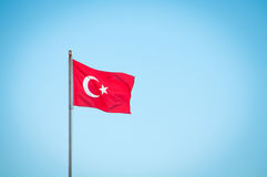 Turkey. Country flag is a national symbol. Background blue sky royalty free stock images