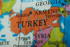 Turkey country on paper map. Close up view royalty free stock image