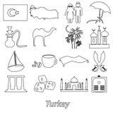 Turkey country theme symbols outline icons set eps10 Stock Photography