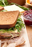 Turkey and Cranberry Sauce Sandwich Royalty Free Stock Photography