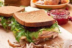 Turkey and Cranberry Sauce Sandwiches Stock Photo
