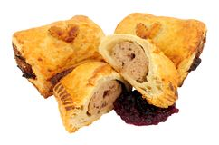 Turkey And Cranberry Sausage Rolls royalty free stock photography