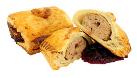 Turkey And Cranberry Sausage Rolls stock photo