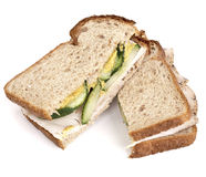 Turkey and Cucumber Sandwich on Wheat Bread Stock Images