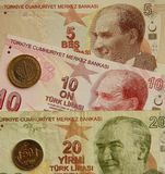 Turkey currency. Banknotes of 5, 10 and 20 Turkish Liras Royalty Free Stock Photography