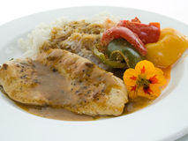 Turkey cutlet with rice and paprika Stock Image