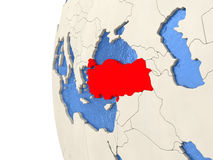 Turkey on 3D globe. Map of Turkey on globe with watery blue oceans and landmass with visible country borders. 3D illustration Stock Photography