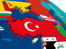 Turkey on 3D map with flags Royalty Free Stock Photos