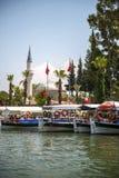 TURKEY, DALYAN, MUGLA - JULY 19, 2014: Touristic River Boats wit Stock Photos