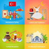 Turkey 2x2 Design Concept Set. Of culture traditions national cuisine nature and architecture compositions flat vector illustration Stock Image