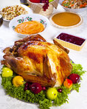 Turkey dinner. Holiday dinner with roast turkey, , pumpkin pie, gravy,  cranberry chutney stuffing etc Stock Photography