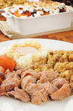 Turkey dinner. Vertical photo of turkey pot roast with mashed potatoes Royalty Free Stock Photo